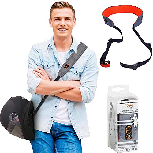 Cinturino per casco da moto - Potrai avere le mani libere. Accessorio per casco pratico e leggero invece della solita borsa per il casco. Regalo perfetto per uomini e donne. Grigio. EZ-GO (Gray)