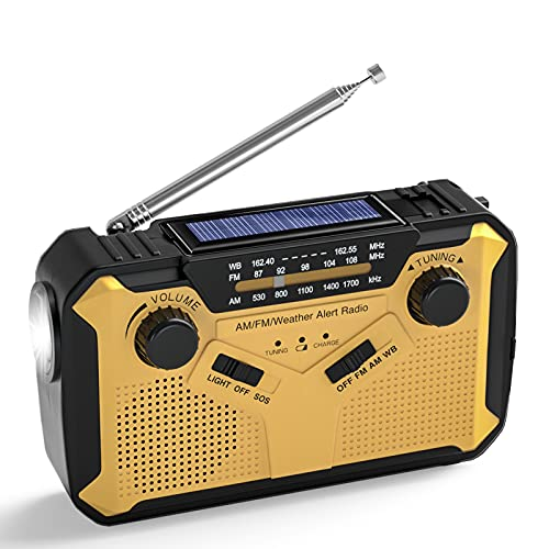 【2021 Newest】 Emergency Weather Radio Portable Solar Hand Crank Battery Radio with AM/FM/NOAA Channel, SOS Alarm, Power Bank USB Charger, Headphone Output, LED Flashlight, Reading Lamp for Outdoor