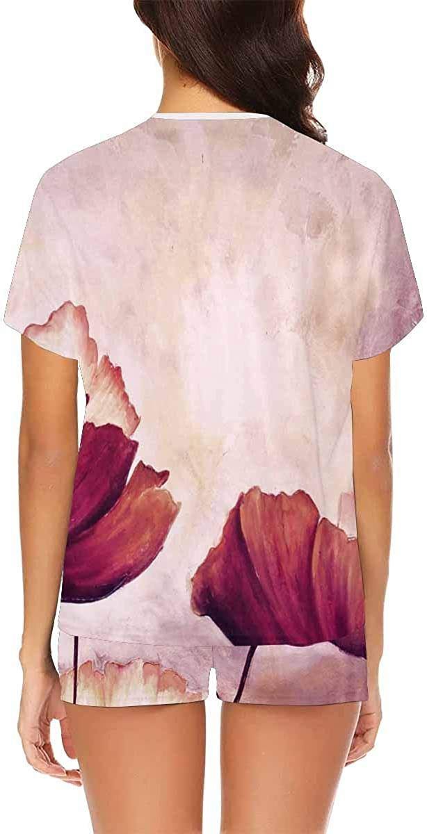 InterestPrint Painting Poppies Women's Breathable 2 Piece Shorts Pajama Sleepwear Set