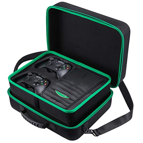 Zadii Hard Carrying Case Compatible with Xbox One X, Fit Xbox One X Console, 2 Wireless Controllers, Power Cable, HDMI Cable Game Discs and Other Accessories