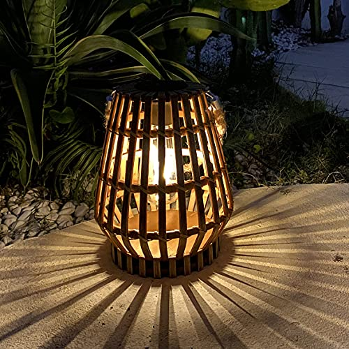 pearlstar Solar Lantern Outdoor Hanging - Decorative Landscape Light Rattan Natural Lantern Rustic Bamboo Woven Table Lamp with Edison Bulb for Patio Garden Pathway Yard Wedding and Home Decorations