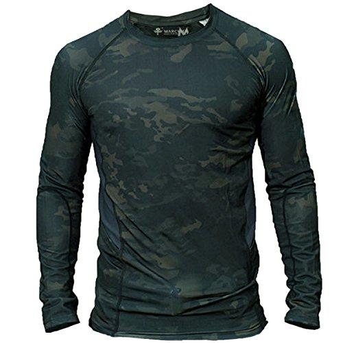 SHENKEL 迷彩 タクティカル Tシャツ 長袖 ポケット付き (ストレッチ + ドライメッシュ) 吸汗速乾 伸縮性 メンズ マルチカムブラック L サバゲー サバイバルゲーム スポーツ アウトドア