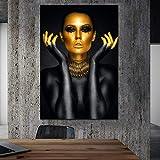 Pinturas de decoración de mujer de oro negro Imágenes de arte de pared en lienzo Cuadros Carteles Decoración de habitación Impresiones decorativas modernas 40x60cm (16x24in) Sin marco