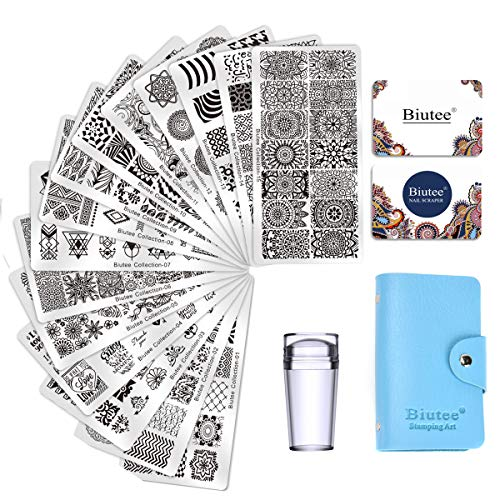 Biutee Nail Art Stamping 15pcs PlacasEstampacionUñas para Manicura +1pcs Sello de Silicona +2 pcs Rascador +1 pcs Bolsa para Placas(Color al azar)