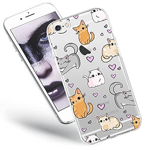 QULT Cover per Telefono Compatibile con iPhone 6 / 6S - Custodia per Telefono in Silicone Trasparente con Motivi - Cover per Telefono Ultrasottile Gattino