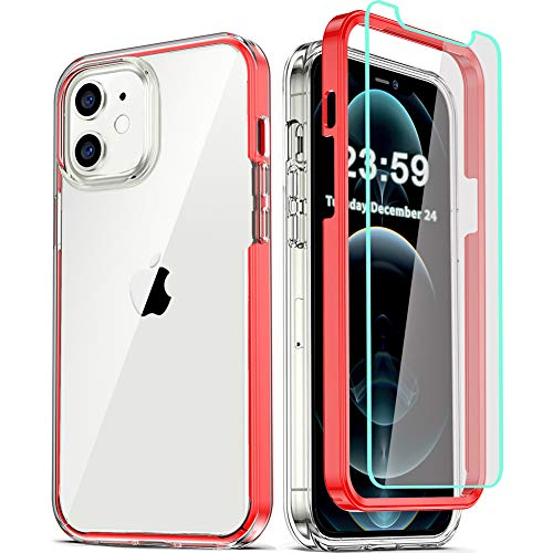 COOLQO Compatible for iPhone 12 /iPhone 12 Pro Case 6.1 Inch, with 2 x Tempered Glass Screen Protector Clear 360 Full Body Silicone Protective Shockproof for iPhone 12/12 Pro Cases Phone Cover Red