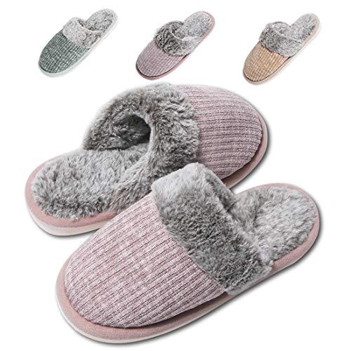 Moregut Hausschuhe Damen Warm Memory Foam Winter Pantoffeln Frauen Plüsch Home Komfortable Kuschelig Weite Leicht Slippers rutschfest für Drinnen und Draußen