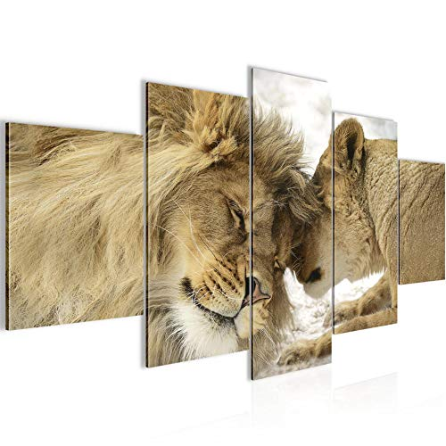 Runa Art - Bilder Löwen Liebe 200 x 100 cm 5 Teilig XXL Wanddekoration Design Beige 002151a