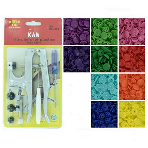 Bundle - 2 items: Starter Pack KAM Plastic Snap Setting Pliers & Awl Set with 100 Complete KAM Plastic Snap Sets for Cloth Diapers/Baby Bibs/Buttons/Unpaper Towels (Rainbow Spectrum)