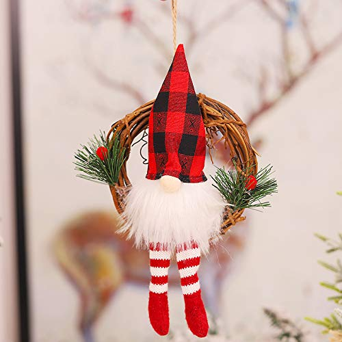 Muñeca de Navidad con lámpara Colgante de muñeco de Bosque Adornos navideños Celosía en Blanco y Negro (con botón de batería) Accesorios de decoración de Ventana de Navidad (Negro-Rojo)