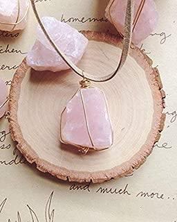 Raw Rose Quartz Crystal Necklace on Tan Cord