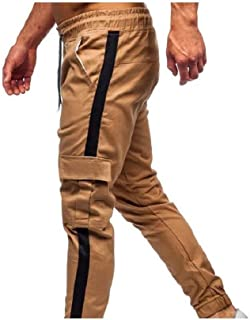 Men's Relaxed Fit Multi Pockets Elastic Waist Long Pants Joggers Pants