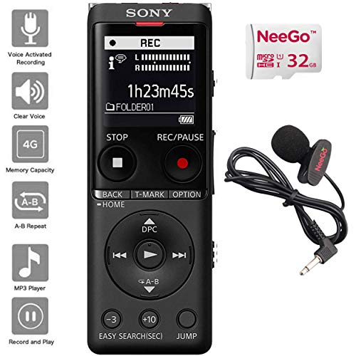 Sony Digital Voice Recorder UX Series, 4 GB Built-in Storage, Expandable via MicroSD, Includes A NeeGo Lavalier Lapel Mic and a NeeGo Micro SD Card 32GB