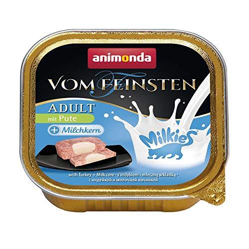 animonda Vom Feinsten Adult Katzenfutter, Nassfutter für ausgewachsene Katzen, mit Pute + Milchkern, 32 x 100 g