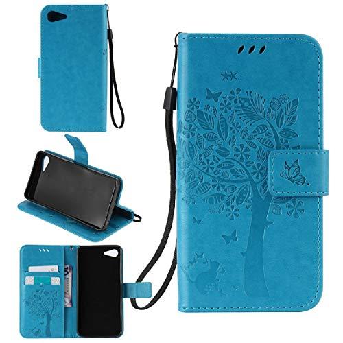 Sangrl Wallet Hülle Für Lenovo ZUK Z2 (5.0 Zoll), Mode PU-Leder Magnetisch Schliessen Schmetterling Handyhülle Mit Halterung Katze & Baum Geprägtes Design Hülle - Blau