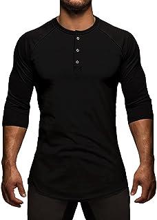 MakingDa Mens 3/4 Raglan Sleeve Collarless Shirts Plain Henley T Shirts Button Neck Grandad Shirt Summer Lounge Tops Home ...