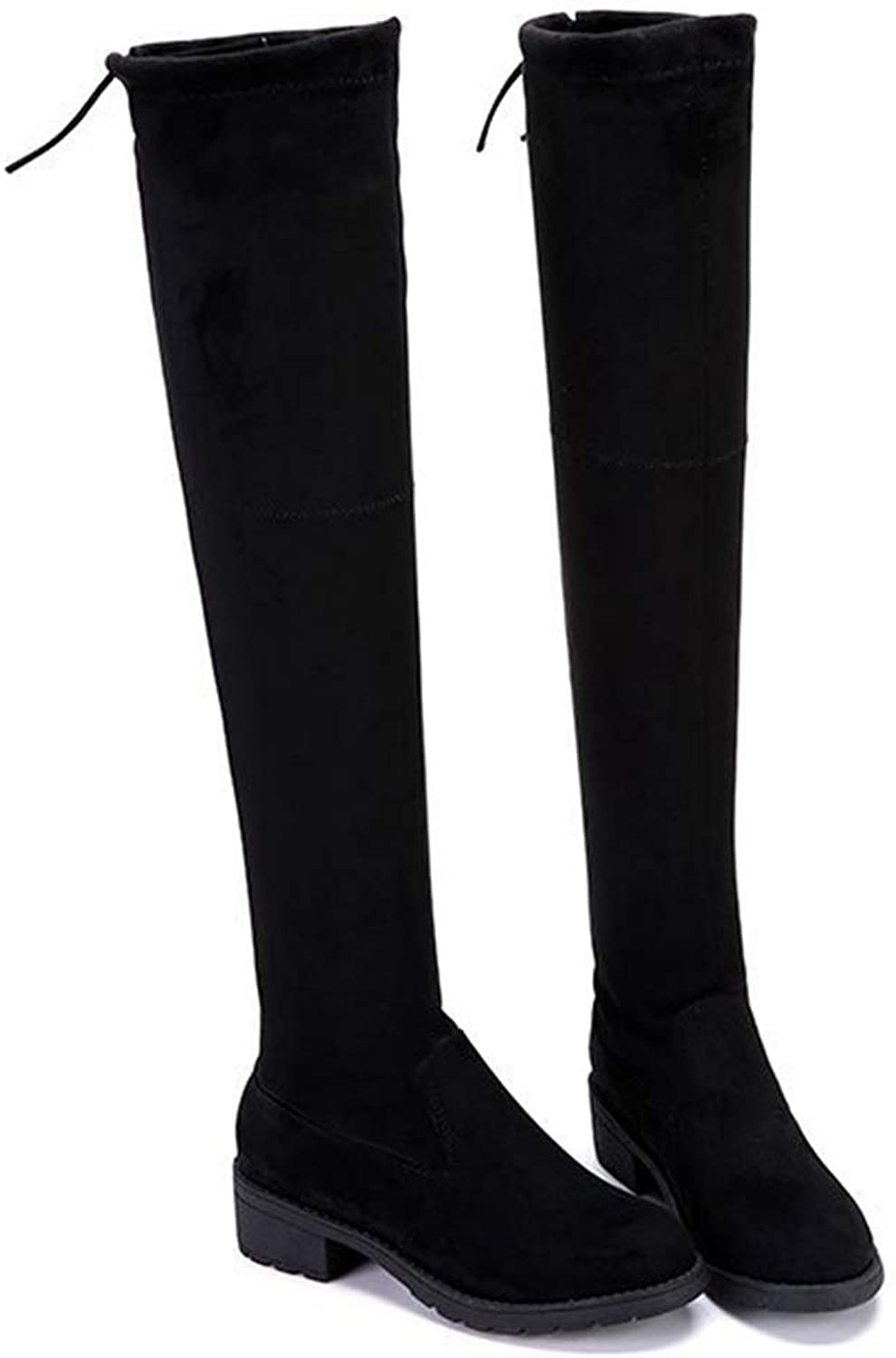 Andy Pansy Boots Women's Boots Autumn Winter New Thick Heel Flat Over Knee Boots Trend 100 take Cotton Boots Woman Type