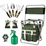 Homdox 10 Piece Garden Tools Set -5 Gardening Tool Set Folding Stool Seat with Backrest and Zippered Detachable Tote