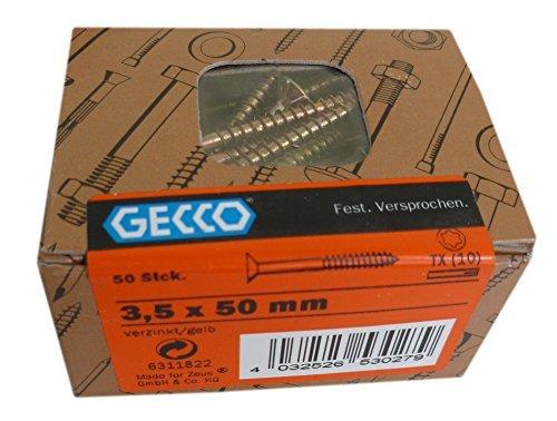 50 Stk. GECCO Spanplattenschrauben TORX 3,5x50 mm gelb verzinkt TX 6311822