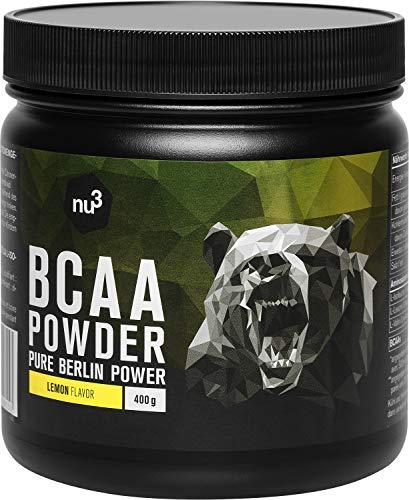 nu3 BCAA Powder Lemon - 400 g di polvere di BCAA - sapore fruttato di limone - con un rapporto aminoacidico ottimale di 2:1:1 - per gli atleti di bodybuilding e di resistenza - 100% Vegano