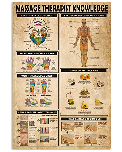AMD PRINT Massage Therapist Knowledge Face Hand Foot Full Body Reflexology Chart Wall Art Hanging Painting Paper Photography Watercolor Living Bedroom Home Decor No Frame (12x18 inches)