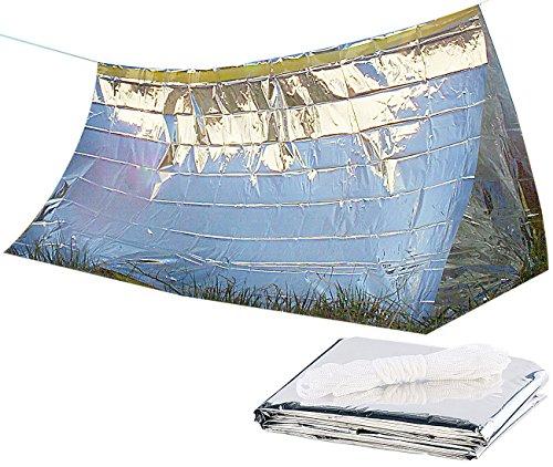 Semptec Urban Survival Technology Notfallzelt: Notfall-Zelt für 2 Personen, Ultraleicht, hitzeabweisend, kältedämmend (Minizelt)