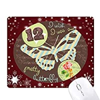 薔薇と蝶の切手 オフィス用雪ゴムマウスパッド