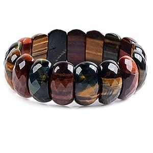 "25mm Natural Multicolor Tiger Eye Gemstone Oval Faceted Beads Wide Stretch Bracelet 7"" Unisex"