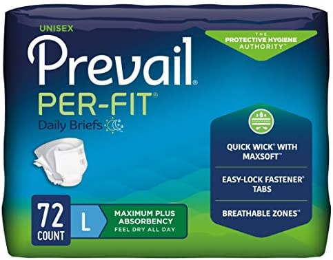 Prevail Per-Fit Incontinence Briefs, Maximum Plus Absorbency, X-Large, 60 Count