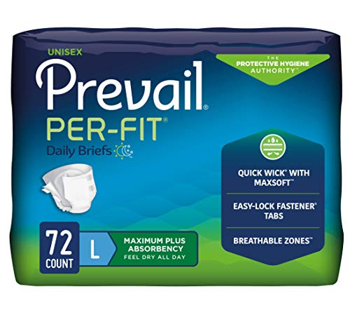 Prevail Per-Fit Incontinence Briefs, Maximum Plus Absorbency, Large, 72 Count
