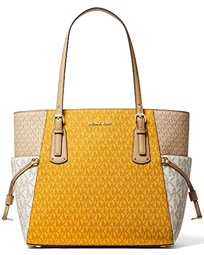 Tricolor Sun Multi MK signature coated canvas with leather trim. Fits an iPad. Open top ; Three compartment tote. Exterior : Golden hardware. ; Drawstring detail at sides. Interior : 1 back zip pocket, 2 back slip pockets, 1 center zip tech compartme...
