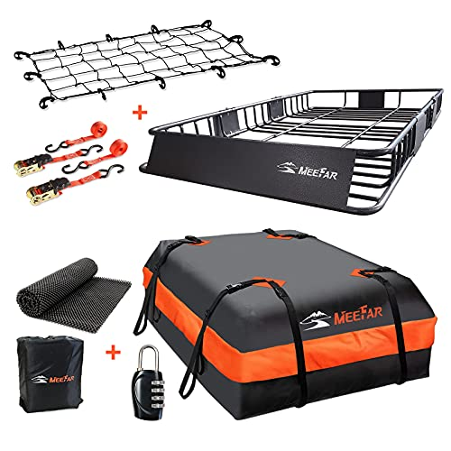 Roof Rack Carrier Basket Universal Rooftop Cargo Carrier with Extension, 64' x 39' x 6', can be Reduced to 43',Waterproof Rooftop Bag (15 Cubic feet) Cargo net with Attachment Hooks, Ratchet Straps