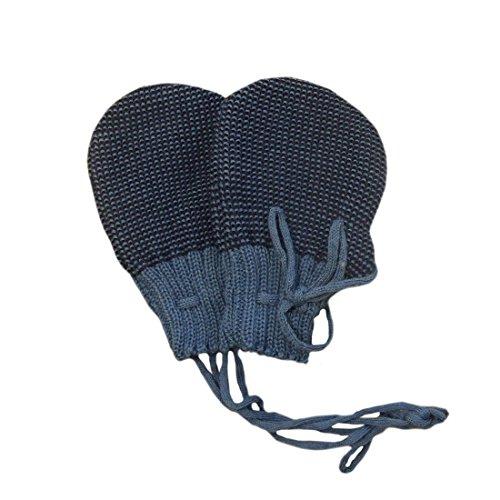 Disana Handschuhe gestrickt Bio-Wolle blau