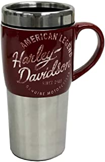 Harley-Davidson Heritage Ceramic Stainless Steel Travel Cup, Silver & Burgundy