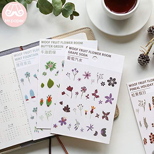 Transparant Stickers Plant Bloem Tijdschrift Decoratieve Huisdier Stickers Scrapbooking Sticky Label Dagboek briefpapier 6 Ontwerpen