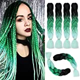 4Pcs/Lot Jumbo Braiding Hair Kanekalon Ombre Green Synthetic Braids Hair Extension 24Inch Twist Crochet Hair (Black/Green/Light Green)