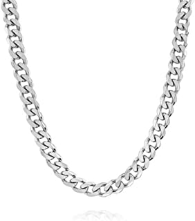Verona Jewelers Italian 925 Solid Sterling Silver Mens Necklace,7.5MM 8MM 11MM 15MM Curb Cuban Chain Necklace for Men- Solid Heavy Link, Thick Link Chain Necklace, 20, 22, 24, 30,