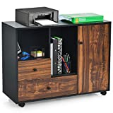Giantex Mobile Filing Cabinet 2 Drawers, Large Storage Cabinet, Printer Stand on Wheels, Wood Lateral Industrial File Organizer with Open Shelves for Home and Office Use(Black+Brown, 4 Wheels)