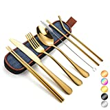 Travel Utensils Silverware with Case, Camping Cutlery set,Chopsticks and Straw for Camping, Portable Flatware Cutlery Set with Case,Stainless steel Travel Utensil set 8 Piece F (BL-Gold)