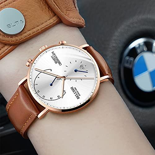 Rcherish Reloj de Moda para Hombres, Reloj de Cuarzo Deportivo Multifuncional Tendencia Luminosa Impermeable,B