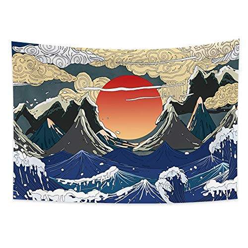 Haoyiyi 59.1x39.4 Inches Japanese Tapestry Ocean Wave Mountains Wall...