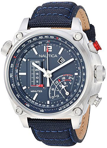 Nautica Millrock Collection - Reloj Casual de Cuarzo para Hombre, Acero Inoxidable y Nailon, Color Azul (Modelo: NAPMLR002)