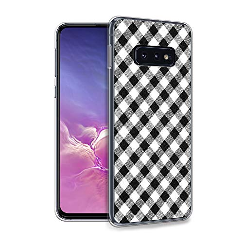 HELLO GIFTIFY Compatible with S10 Plus Case, Black and White Plaid Pattern Designed on Clear Soft TPU Gel Case for Samsung Galaxy S10+ Plus 6.4 inch (2019), Slim Fit Protective Rubber Cover Case