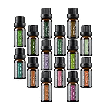 Aromatherapy Oils 100% Pure Basic Essential Oil Gift Set by Wasserstein (Top 14, 10ml)