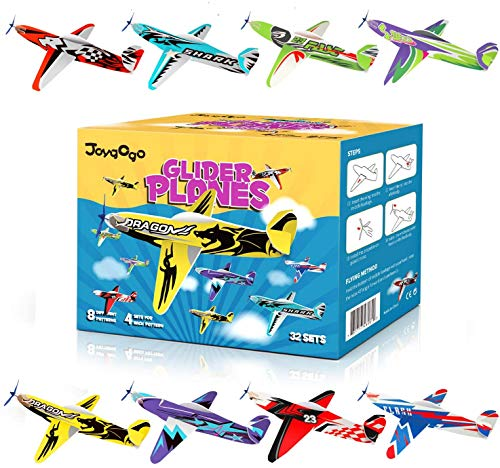 Joygogo 32 Pack Glider Planes,8' Long Flying Glider Plane,8 Different Designs,Easy Assembly,Durable...