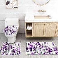 ZGDPBYF 浴室用アップホームバスマットラベンダー植物花プリントバスマットシャワーフロア用カーペットバスタブマット