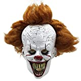 IT Halloween Mask Creepy Scary Pennywise Clown Full Face Horror Movie Joker Costume Party Festival Cosplay Prop Decoration for Adult (Biting)