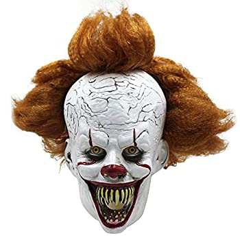 Halloween Mask IT Pennywise for Adults Clown Scary Costume Cosplay Party  mouth-openning