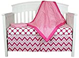 Bacati Chevron and Dots 4-in-1 Cotton Baby Crib Bedding Set, Pink