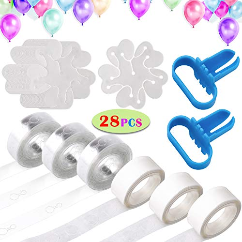 Tinabless Balloon Decorating Strip Kit, Balloon Garland Kit for Arch Garland with 48 Ft Balloon Tape Strip, 2 Pcs Tying Tool, 300 Dot Glue, 20 Flower Clip for Birthday, Wedding, Party Decorations